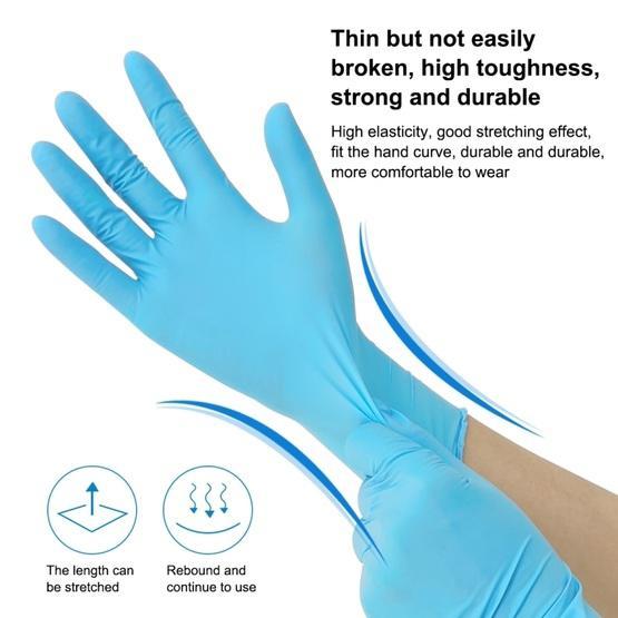 (100 pcs/Set) Blue Disposable Butyronitrile Gloves Housework Supplies, Size: L, Suitable for Palm Width: 9cm-10cm
