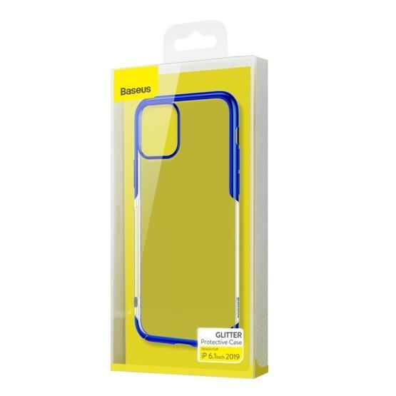 For iPhone 11 Baseus Fashion Glitter Electroplating Frame PC Case(Blue)