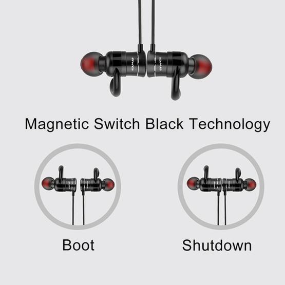 AWEI AK5 Sports Waterproof Wireless Bluetooth In-ear Headphone with Mic (Red)