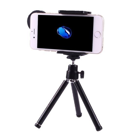 10X Magnification Lens Mobile Phone 3 in 1 Telescope + Tripod Mount + Mobile Phone Clip (Black)